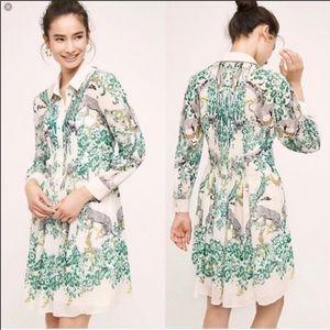 Anthropologie Maeve Jungle Collared Shirt Dress